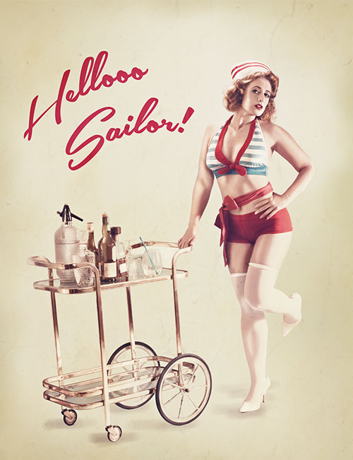 The finished product - a sailor themed vintage pin-up poster.