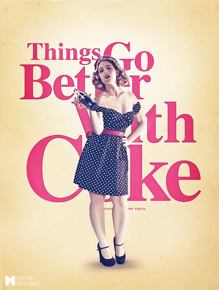 Vintage style coca-cola advertising poster.