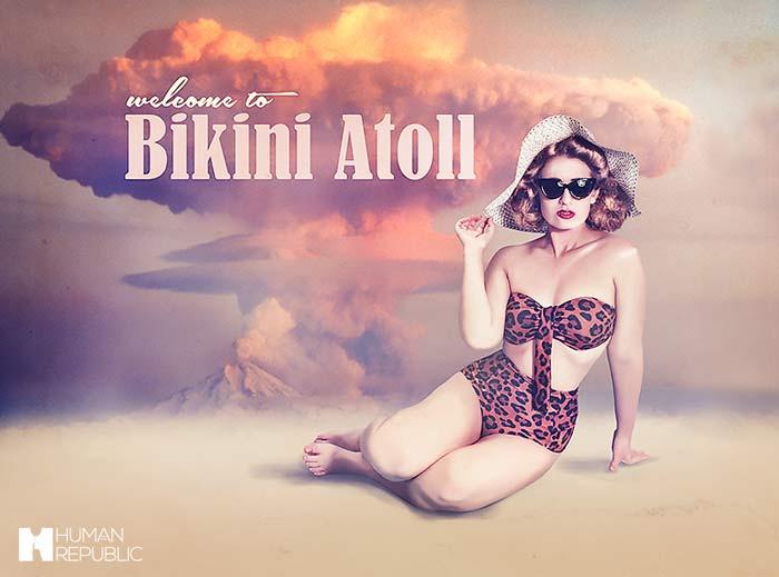 A girl in her bathers in a vintage Bikini Atoll postcard.