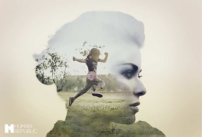 A double exposure image of a mother and daughter.