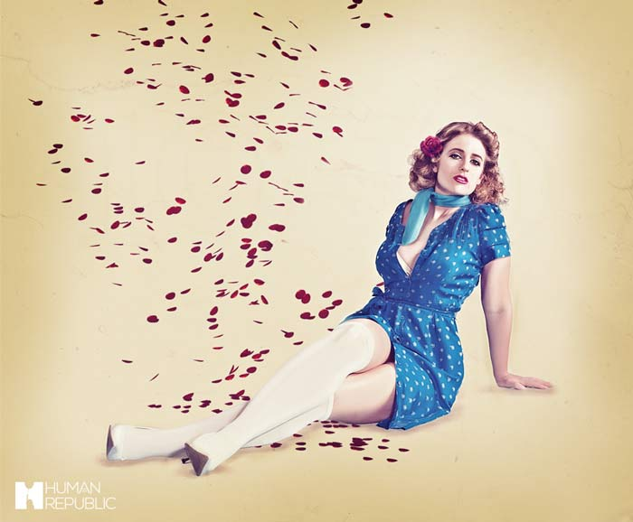 A pin-up style poster with roses falling from the sky.